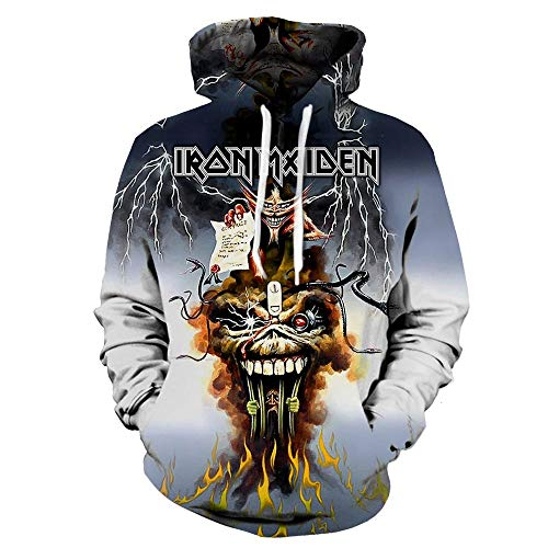 Unisex Iron Maiden Sudaderas Sudadera con Capucha de Manga Larga Transpirable de Primavera y otoño de Las Mujeres de la Moda Medio suéter Largo Iron Maiden Sudaderas con Capucha