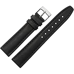 Replacement Watch Strap/Watch Strap-18mm Bracelet made of leather-Discreet-MARBURGER Since 1945Watch Straps-Black/Silver