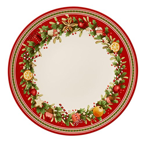 Villeroy & Boch Winter Bakery Delight Piatto Piano, 27 cm, Porcellana, Bianco/Rosso, 27x27x0.1 cm