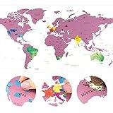 Mappa da Grattare Mondo - 80 x 40 cm - Rosato - Mappamondo - Cartina Mondo - Scratch-Off Travel Map