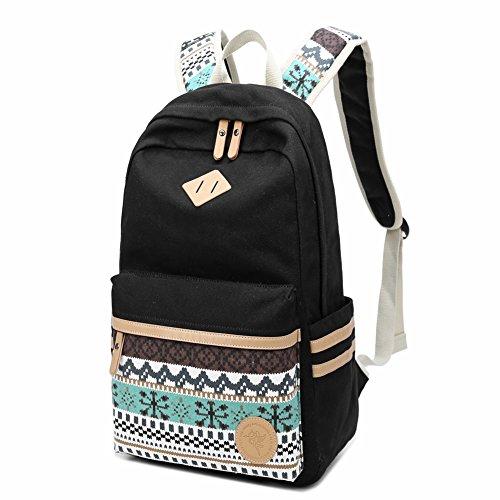 Schulrucksack Mode Mädchen Schulrucksack Damen Leinwand Teenager Baumwollgewebe Streifen Tasche Daypacks für University Outdoor Freizeit von Meetest