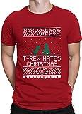 vanVerden Unisex T-Shirt XS-5XL T-Rex hates Christmas / Dinosaurier, Größe:L, Farbe:Rot