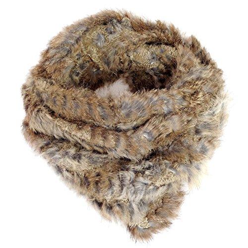 Fourrure écharpe tubulaire en tricot rondes kanin écharpe en fourrure de lapin fourrure de lapin 4–xY Marron