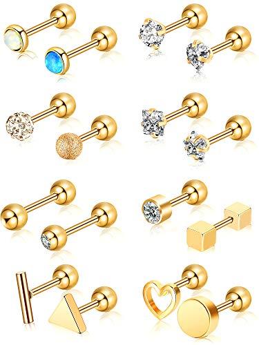 16 Stück 16g Edelstahl Nasenstecker Tragus Labret Nasen Lippen Piercing Sortierte Design Piercing Schmuck für Damen (Gold 2)
