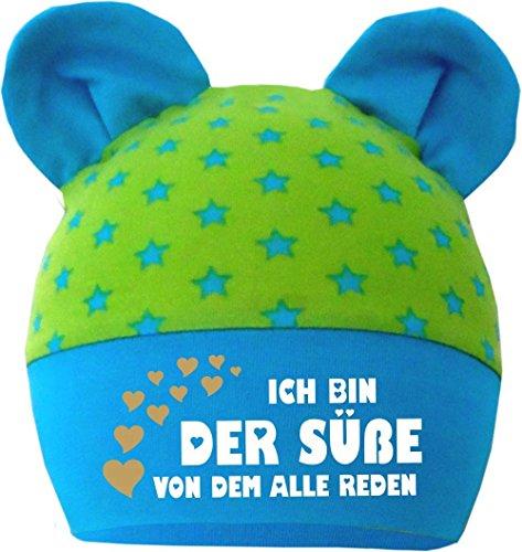 Baby Ohren Mütze Sternchen (Farbe lime-royal) (Gr. 1 (0-74) Ich bin der Suesse von dem alle reden