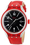 Swatch Go Jump Black Dial Red Rubber Str...