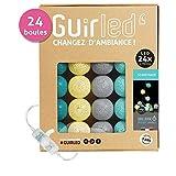 GuirLED Guirlande Lumineuse Boules Coton LED USB - Chargeur Double USB 2A Inclus - 3 Intensités - 24 boules - Scandinave
