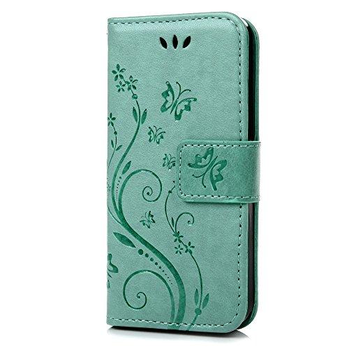 iPhone 5 5S SE Wallet Case iPhone 5 5S SE Flip Hülle YOKIRIN Schmetterling Blumen Muster Handyhülle Schutzhülle PU Leder Case Skin Brieftasche Ledertasche Tasche im Bookstyle in Blau Mintgrün