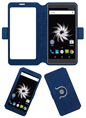 ACM SVIEW Window Designer Rotating Flip Flap Case for Yu Yureka Note Mobile Smart View Cover Stand Blue