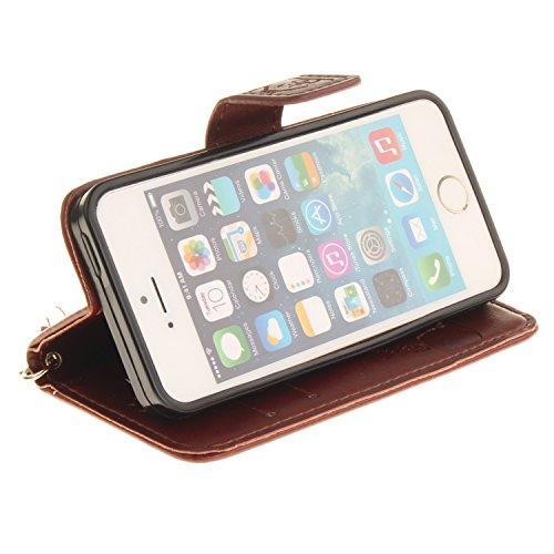 Für iPhone SE/Für iPhone 5/5S Gurt Strap Magnetverschluß Ledertasche Hülle,Für iPhone SE/Für iPhone 5/5S Premium Seil Leder Wallet Tasche Brieftasche Schutzhülle,Funyye Stilvoll Jahrgang [Niedlicher r Panda,Braun