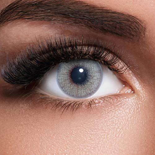 GLAMVUE Beverly Hills Grey + Behälter I Sehr stark deckende natürliche graue Kontaktlinsen farbig I 1 Paar (2 Stück) I DIA 14.00 I ohne Stärke