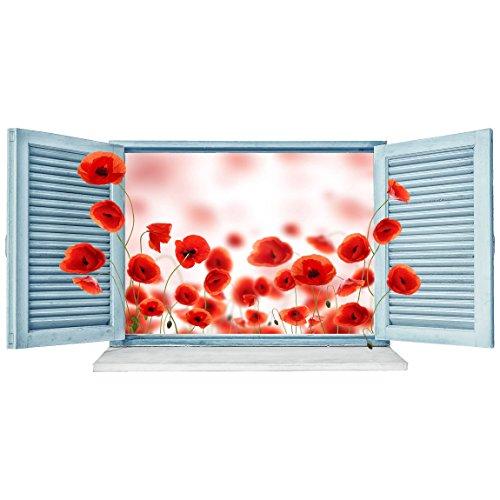 Bilderwelten 3D Wandtattoo - Mohnfeld Fenster - Quer 1: 2, Größe: 50cm x 100cm