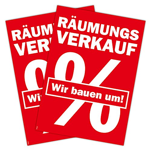 """2 Stück Plakat \""""Räumungsverkauf Wir bauen um mit Prozentzeichen\""""DIN A1 (841x594mm Kundenstopperformat)"""