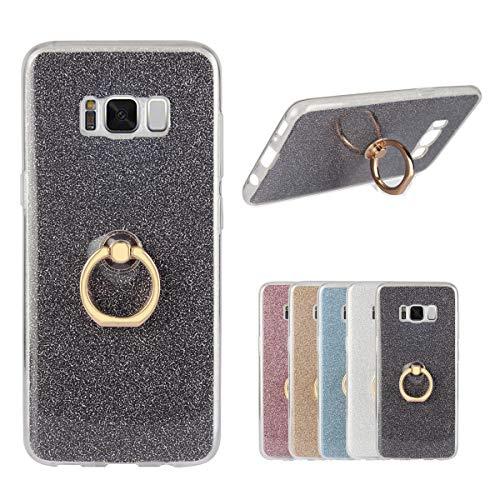 Misstars Hülle für Galaxy S8 Plus, Ultra Dünn Transparent Weiche TPU Silikon + Glitzer Schwarz Papier Hybrid 2 in 1 Design Bling Schutzhülle mit Ring Ständer für Samsung Galaxy S8 Plus Crystal Papier
