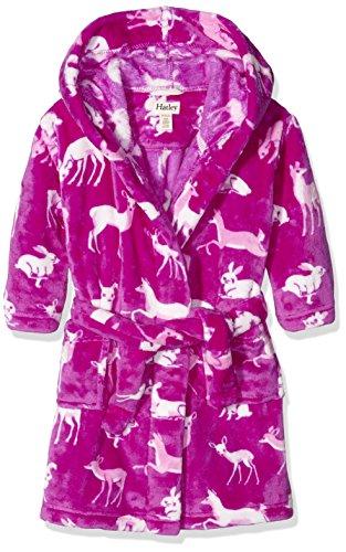 Hatley Mädchen Kleid Fleece Robe-Deers & Bunnies Rosa-Pink, S (Robe Belted Fleece)