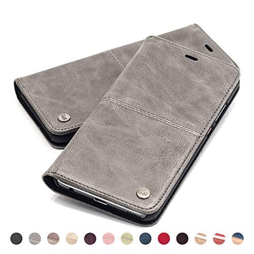 QIOTTI Hülle Kompatibel mit iPhone 8 I iPhone 7 Ledertasche aus Hochwertigem Leder RFID NFC Schutz mit Kartenfach Standfunktion in Grau