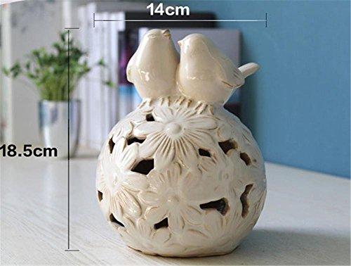 Belle camere da letto dell'uccello di scultura ceramica Lampada da tavolo Luce notturna , white