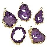 1pc de la Púrpura de Cristal Teñido de Oro Druzy Geode Rebanada de forma Libre de Hielo de Cuarzo Ágata Natural de la piedra PRECIOSA Encantos Chapados Colgantes Lazo de la Joyería Bohemia