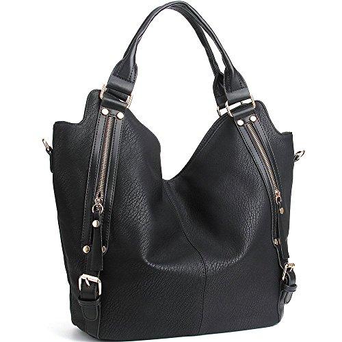 iYaffa Handtaschen Damen Taschen Schultertaschen Umhängetaschen Handtaschen für Frauen PU Leder Tote Hobo Taschen Damen Henkeltaschen Groß (L:31CM * H:36CM * W:15CM) Schwarz (Design-große Tote)
