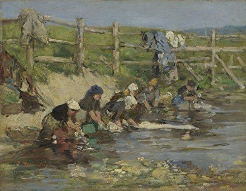 Das Museum Outlet-Eugène Boudin-Laundresses by a Stream-Leinwand Print Online kaufen (152,4x 203,2cm)