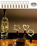 Weinflasche Lichter, Kork LED Lichterketten mit 2M 20LED Batteriebetriebenen Draht Lichterketten für Flasche DIY Dekor, Outdoor BBQ, Versammlung, Party, Hochzeit, Urlaub (Warmweiß - 10 Stück)