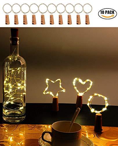 [Packung mit 10]Weinflasche Lichter, Kork LED Lichterketten mit Batteriebetriebenen Draht Lichterketten 2M 20LED für Flasche DIY Dekor, Outdoor BBQ, Versammlung, Party, Hochzeit, Urlaub ()
