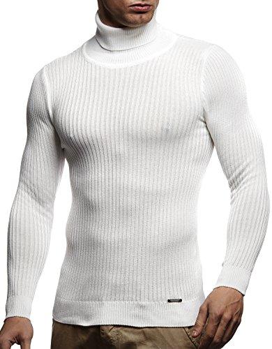 LEIF NELSON Herren Pullover Strick Rollkragenpullover Hoodie Longsleeve Basic Rollkragen Sweatshirt langarm Sweater Feinstrick LN1670; Gr_¤e L, Ecru
