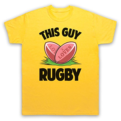 This Guy Loves Rugby Rugby Slogan Herren T-Shirt Gelb