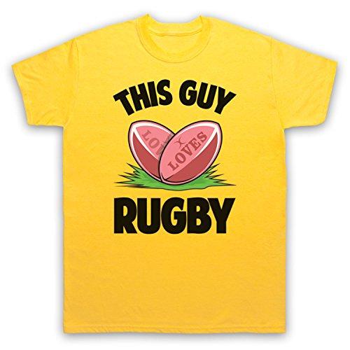 This Guy Loves Rugby Rugby Slogan Herren T-Shirt Gelb