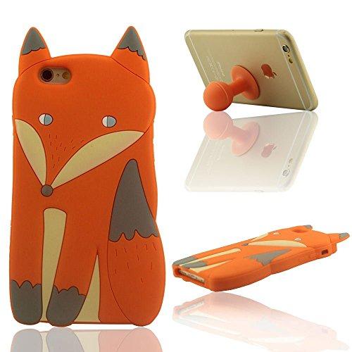 """Prämie iPhone 6 / 6S Schutzhülle Hülle 4.7"""" Case Schön Fuchs Aussehen 3D Gestalten Weich Silikon-Gel Cover Bumper + Silikon Halter Orange"""