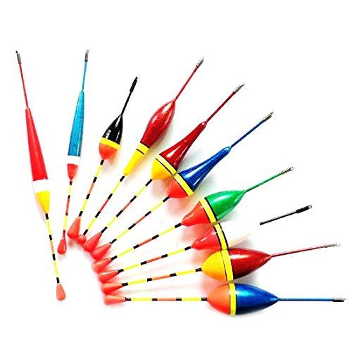 NoyoKere 10pcs flotadores de la pesca fijan la boya Bobber flotadores del palillo de la luz fluctúan el tamaño de la mezcla flotador del color boya