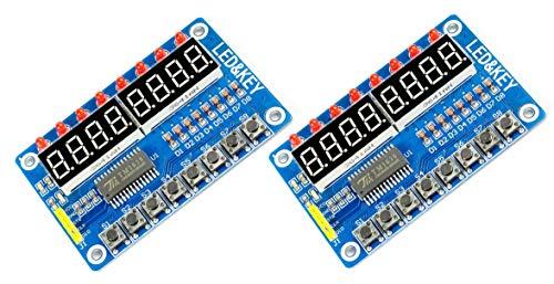 MissBirdler 2Stück digitales LED Display 8-Tasten Modul 8-Bit TM1638 für Arduino, Raspberry Pi, DIY 8 Taste Display