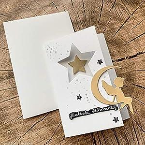 6 personalisierte Weihnachtskarten mit Umschlägen Weihnachtsgrüße Karten Grußkarten glückliche Weihnachten Christmas Greeting Card Engelchen im Mond Sterne Gold Handarbeit binnbonn