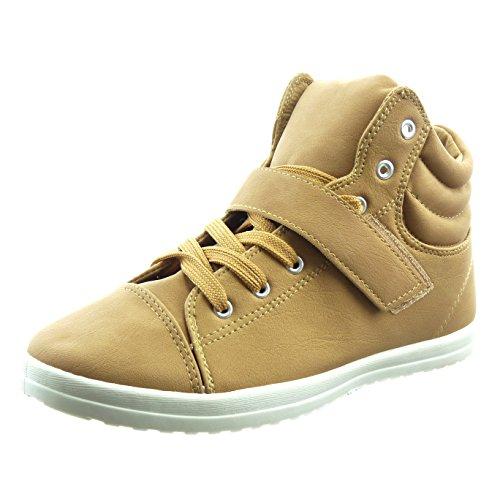 Sopily - Scarpe da Moda Sneaker donna finitura cuciture impunture Tacco a blocco 2 CM - Marrone FRF-11-389-3 T 37
