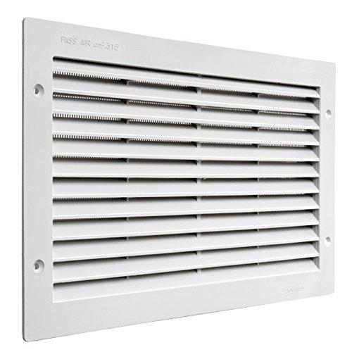 La Ventilazione PAR3823B Griglia di Ventilazione in Plastica Rettangolare 380x230 mm da Incasso, Bianco