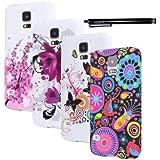 Hunye 5in1 Set: 4 x Housse Silicone TPU Etui pour Samsung Galaxy S5 Case Coque de Protection ( Fleur de Prunier, Méduses Colorées, Papillons, Fleurs ) et 1 x Stylet