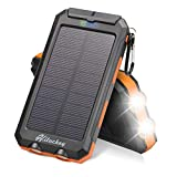 Hiluckey Solar Charger 10000mAh, Solar Power Bank Waterproof Portable Phone Battery Compatible with Smartphones, Android Phone,Tablets and More
