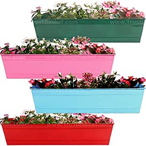 Trust Basket Set of 4 Rectangular Railing Planter-Red, Magenta, Teal, Blue (23 Inch)