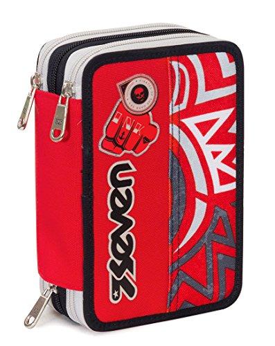 Astuccio 3 zip seven , maori , rosso , con contenuto: matite, pennarelli ...