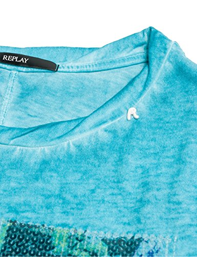 Replay Damen T-Shirt W3727i.000.22162f Blau (BLUE 488)
