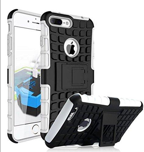 Nnopbeclik [Pneus Texture Armor Séries] Coque Iphone 7 Silicone 2in1 Dual Layer [New] Protectrice Fine Et Élégante Rigide Backcover Incassable case pour Iphone 7 Coque Apple (4.7 Pouce) Antichoc Prote Blanc