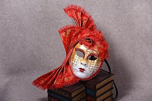 K&C Cosplay Maske Venedig Maskerade Maske Halloween Kostüm Rot