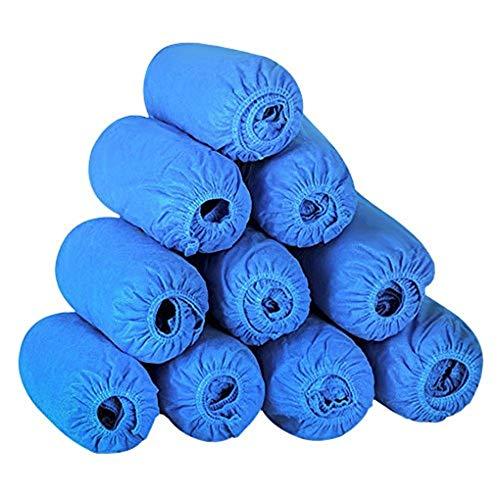 Yjzq 100pcs premium usa e getta scarpa copertura antipolvere copriscarpe/stivaletti/copriscarpe antiscivolo e protezioni per pavimenti e tappeti, blue
