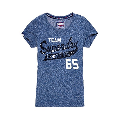 Heathered T-shirt (Superdry T-Shirt Women SEQUIN TEAM COMETS Eclipse Navy Heathered, Größe:XS)