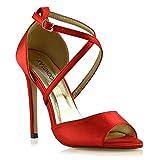 ESSEX GLAM Donna Tacco a Spillo Cinturino alla Caviglia Sandali Le Signore Nuziale Scarpe (39 EU, Rosso Satin)