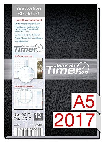 Preisvergleich Produktbild Chäff Kalender 2017 schwarz Din A5 | Timer  Terminplaner  Organizer | Terminkalender mit Wochenplaner | Kalendarium für Projektplanung