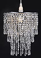 Waay Large 3 Tiers Chrome Sparkling Beads Pendant Shade, Ceiling Chandelier Lampshade with Acrylic Jewel Droplets, Beaded Lampshade with Chrome Frame and Sparkling Beads by WanEway