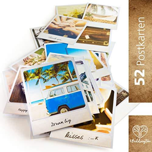 WeddingTree 52 Postkarten Hochzeit Vintage - Postkarten Set 9x11 cm - für 52 Wochen - kreatives Hochzeitsspiel Gästebuch Gastgeschenk