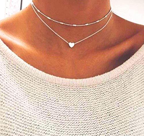 Damen Kette mit kleinem Herz in Silber | Frauen Schmuck aus Kupfer | Mehrreihige Halskette für Mädchen