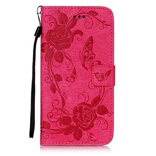 Etsue Ledertasche für iPhone 7 Plus 2016 Schmetterling Blumen Schutzhülle Case Tasche, [Lanyard/Strap] Bunte Muster Brieftasche Flip Wallet Case Cover Silikon Back Rückseite Cover mit Standfunktion Ma Schmetterling Rose,Hot Pink